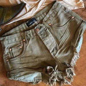 . Mustard Seed Olive Green Frayed Shorts